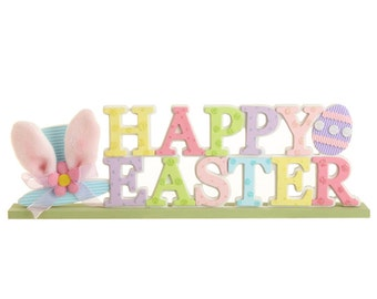 "Raz Imports 15.5"" ""HAPPY EASTER"" SIGN/Wreath Supplies/Easter Decor/E3516022"