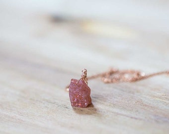 Raw Sunstone Necklace on Sterling Silver or Rose Gold Filled Chain, Rough Sunstone Pendant, Oxidized Silver Jewelry