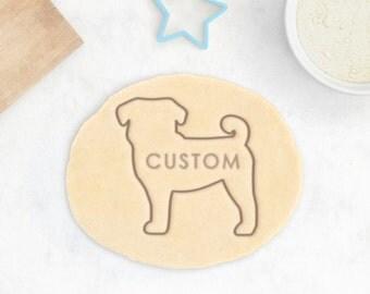 Custom Pug Cookie Cutter - Custom Pug Cookies Personalized Pug Gift Pug Owner Gift Custom Dog Treat Chinese Pug Mops Cookie Cutter Gift