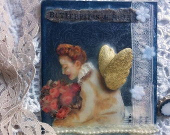 Original Mixed Media Encaustic Art with Black Wooden Stand- Hand Painted and Collaged- Winged Woman