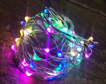 5 metre Battery light string. Copper wire & mixed colour lights - wedding decor - wedding lights - christmas lights - fairy lights