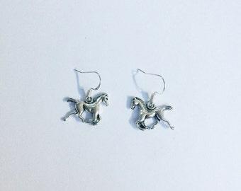 Horse earrings ~ silver horse jewellery ~ silver horse earrings ~ horse lover ~ horse racing ~ horse riding ~ handmade earrings