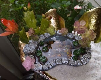 Koi Fish Pond w/ Faux Succulents -  Desktop Zen, Miniature Fairy gardens Terrarium  mini container garden