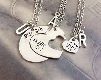 Heart Sister Necklace, Gift For Big Sis Middle Sis Little Sis, Matching Little Sister Middle Sister and Big Sister Necklace Set Of 3