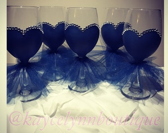 Bridesmaid wine glasses. Hand painted wine glass. Bridesmaid gift. Bridal party gift. Tutu wedding dress wine glass.