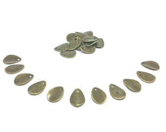 100 charms drops Bronze 17x12mm