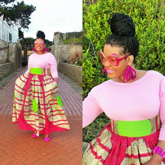 Curvyswan African print  high waist  maxi skirt with pockets