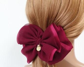 Pleat Layer Hair Bow French Hair Barrette Women Hair Accessories Big Bow hair Barrette Free Shipping