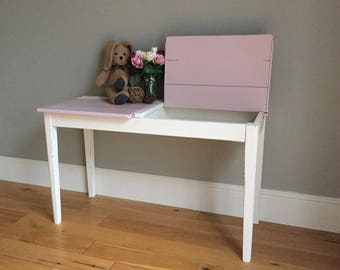 Vintage Wooden Double School Desk - Painted Pink & Cream (delivery quote available on request)