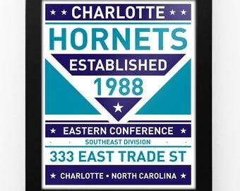 Charlotte Hornets Dual Tone Modern Team Print Framed