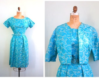 Vintage 1960's Turquoise Brocade Rose Dress | Size Small