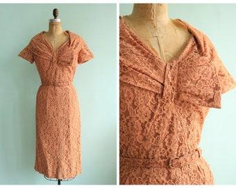 Vintage 1950's Copper Lace Party Dress | Size Medium