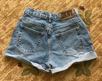 "VTG 90s DKNY High Waisted Denim Cutoff Shorts SIZE: 27"" Waist"