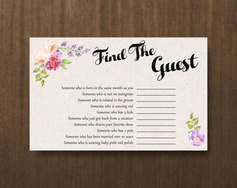 boho wedding shower printables,guess the guest, unique bridal shower games, find the guest game,instant download,bachelorette game - br43