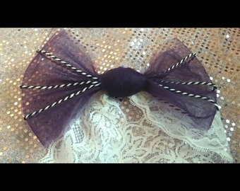Purple Bow with Black and White Strings Headband. Hmong Inspired. (6-12 Months)