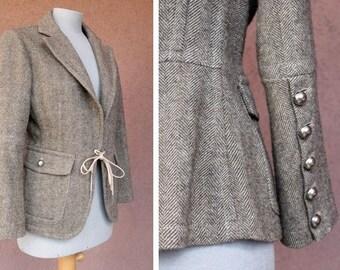 Vintage Grey Tweed Jacket - Wool Buttoned up Sleeves Blazer - Size S