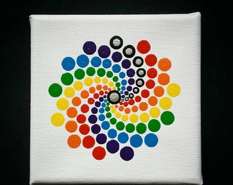 Dot Art Mandala mini canvas 10 x 10 cm.