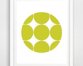 Polka Dot Art,Green Art,Lime Green Prints,Geometric Circles Art Print,Geometric Abstract Art,Bright Wall Art,Neon Wall Art,Green Nursery Art