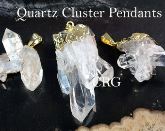 Gold Plated Clear Quartz Cluster Pendant  CL10CN Qty-1