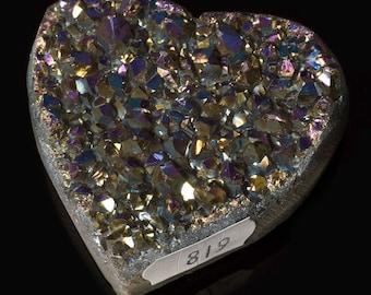 Titanium Aura Quartz Crystal Heart 3.9 oz. A-819