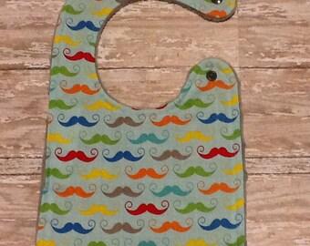 Baby Bib- Mustache Baby Bib, Personalized Baby Boy Bib, Monogrammed Boy Bib, Embroidered Baby Bib, Minky Baby Bib, Boy Baby Bib