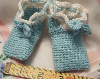 Handmade Crocheted Baby Booties - Blue & White