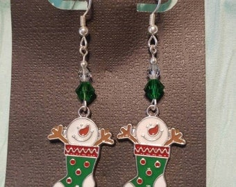 Christmas Holiday Snowman in a stocking earrings with green and clear Swarovski Crystals