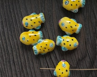 5 pcs 10*18mm so cute yellow fish Ceramic Beads / Handmade beads