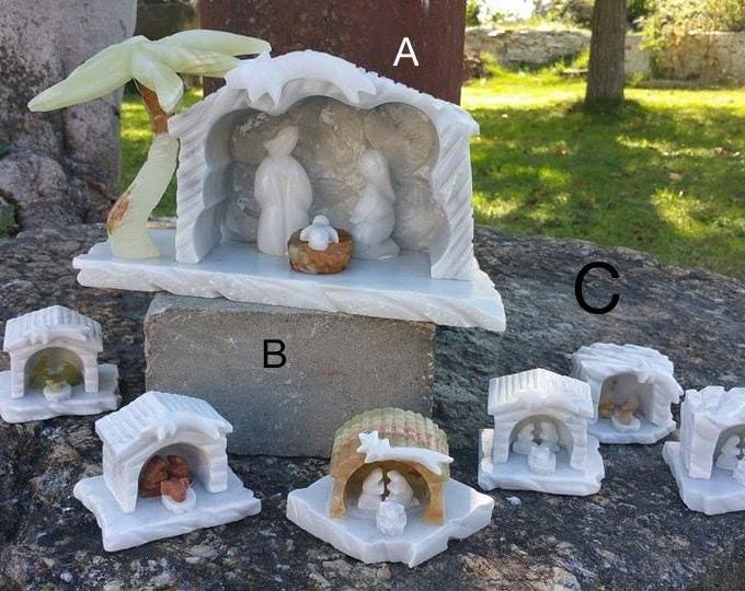 Christmas Nativity Small Carrara Marble with Barn set Decoration From Italy 100% Handmade