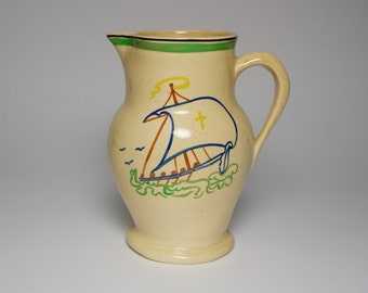 Vintage 1920-30s Ashtead Pottery Art Deco Viking ship jug