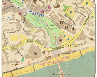 Bournemouth Vintage Map Coasters