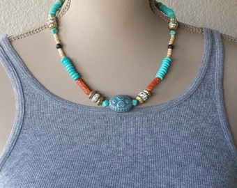 Boho Beaded Ethnic Necklace - Colorful Tribal Necklaces - Blue Necklace - Bohemian Jewelry - Natural Stones Jewelry MyHippieSoul