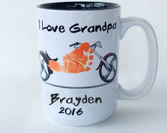 Motorcycle Footprint Mug Your Child's Actual Footprints. Born To Ride  Toddler Footprint Keepsake Great Gift for Dad, Mom, Loved Ones
