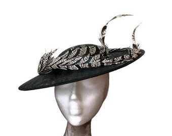Black and white derby hat, black wedding hat, black Ascot hat, feathers hat black, white races hat, hat with feathers,Black womens derby hat