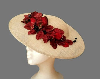 Beige and maroon hat, Leaves and flowers hat, Cream Kentucky derby hat, Cream races hat, Beige wedding hat, kate middleton hats, tea party