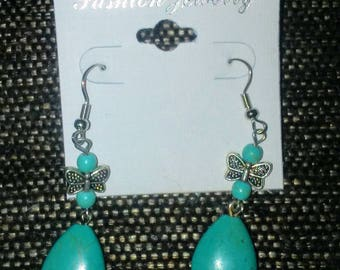 Tibetan Silver and Turquoise Dragonfly Dangle Earrings