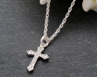 925 Silver Cross Pendant, Crucifix Pendant, Silver Cross Necklace, Baptism Necklace, Holy Communion Gift