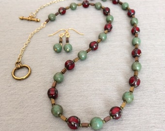 Red Czech Bead Necklace Set Green Czech Glass Bead Necklace Earrings Red Bead Long Necklace Earthy Rustic Necklace Beaded Statement Necklace
