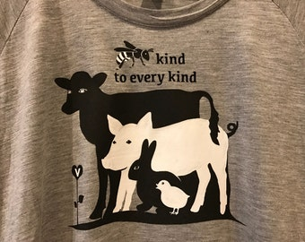 Tunic Tops Tunics Vegan Shirts Vegan T Shirts Farm Animals Animal Lover Animal Lovers Vegan Clothing Vegan Clothes Vegan Gift for Vegans Tee