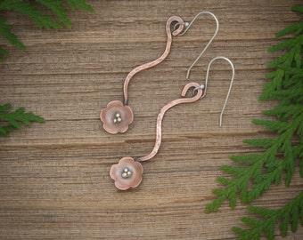 Flower earrings, Copper flower earrings, Flower and vine dangle earrings