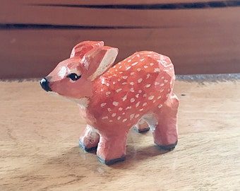 Hand Carved Wooden Fawn