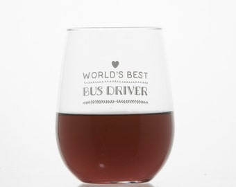 Bus Driver wine Glass / School Bus wine Glass / Etched wine Glass / Bus Driver Gift