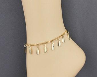 Dangle charm anklet ankle bracelet adjustable dangly pendant Silver or Gold