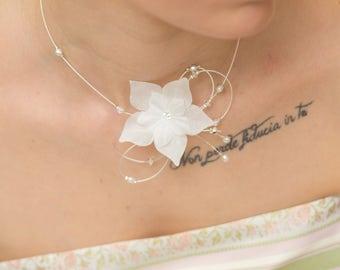 Necklace bridal flower white silk Floralie