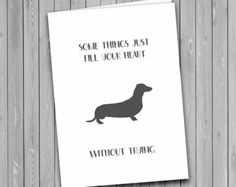 Daschund, Sausage Dog card, Daschund greetings card, dog card