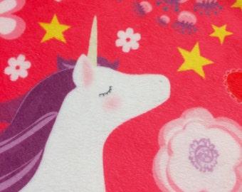 Unicorn minky mini blanket 17x17