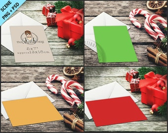 Card, Envelope, Gift box | Christmas Table Styling | 5x7 Empty Portrait Landscape Card Styled Desktop Mockup D6 | Styled Stock Photography