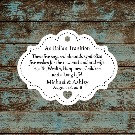 Favor Tags, Jordan Almond Favor Tags, Sugared Almond Favor Tags, Italian Wedding Favor Tags Stitched with Heart Cut Out #613 - Qty: 30 Tags