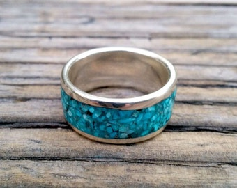 Turquoise Sterling Band.  2 x 10 mm Thick and Wide.