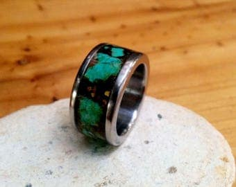 Marbled Titanium Ring Band. 2.5mm X 10 mm Thick and Wide.